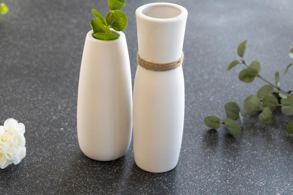 Affordable entryway home decor - white vase set of 2