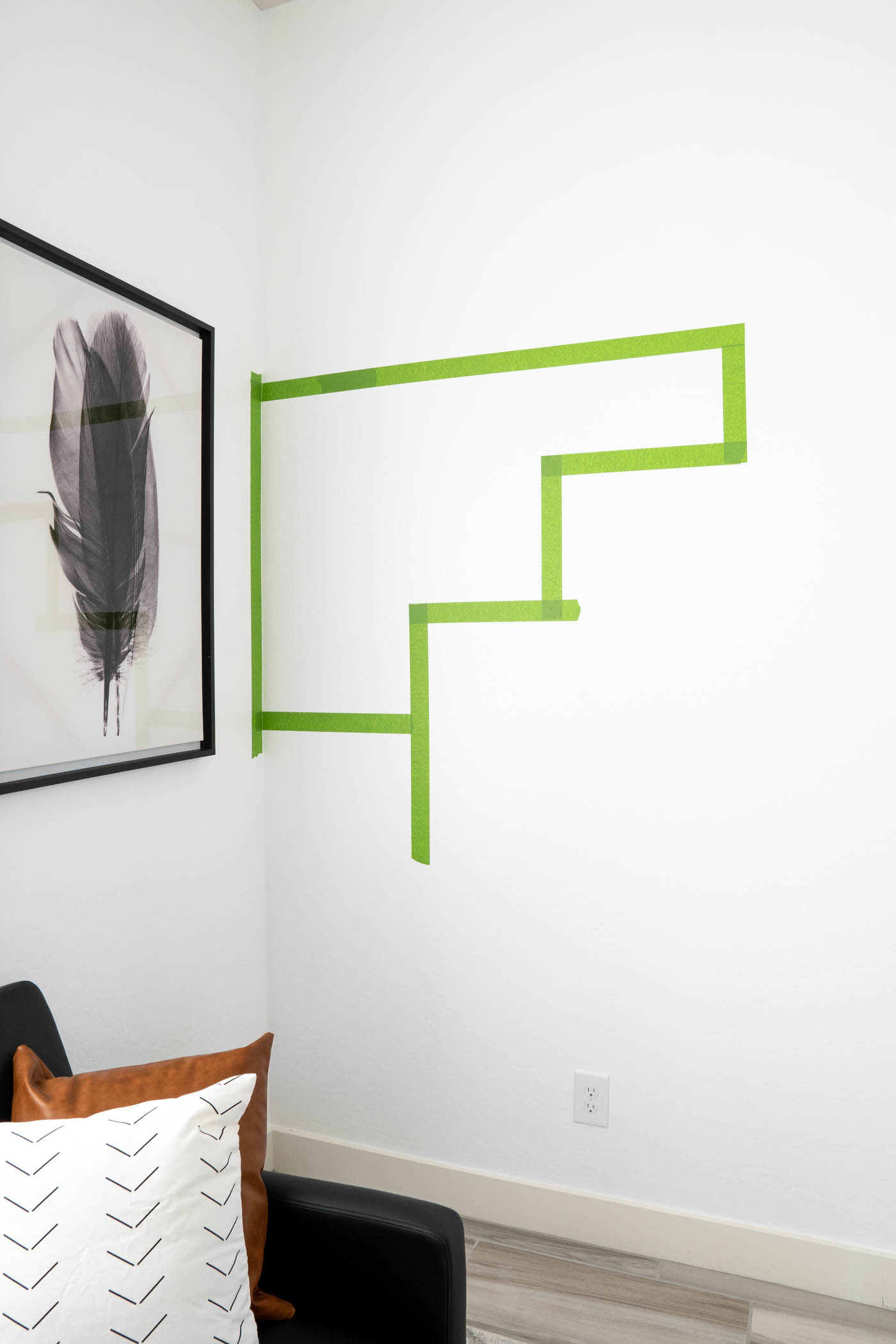 Taped white wall