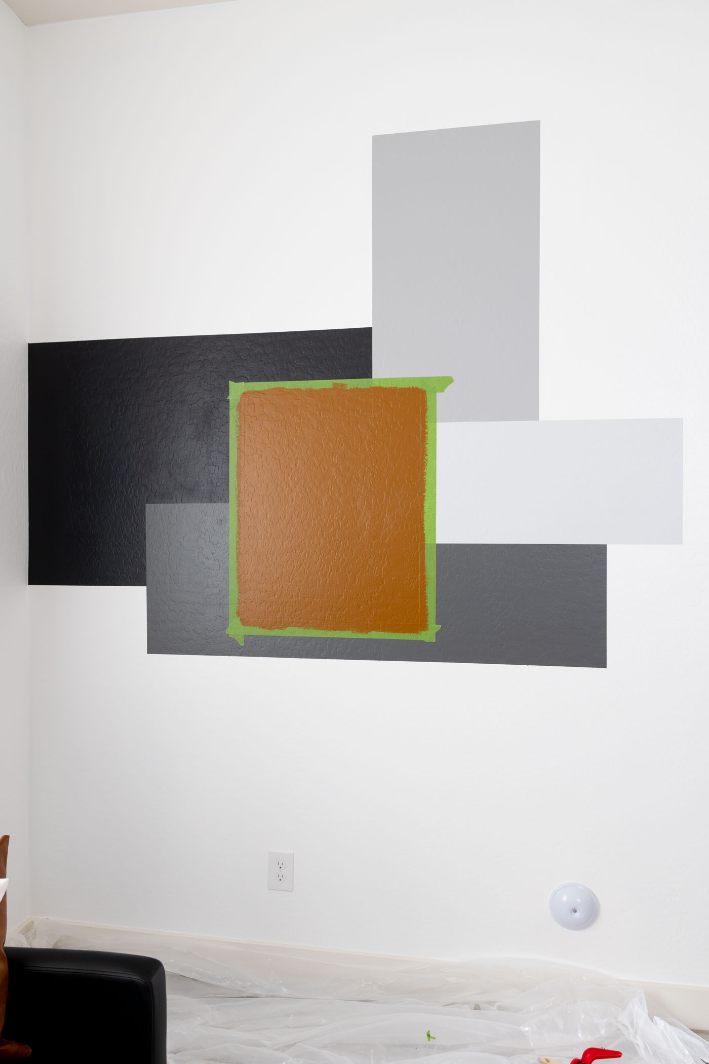 Completed DIY color block accent wall with all 5 colors.
