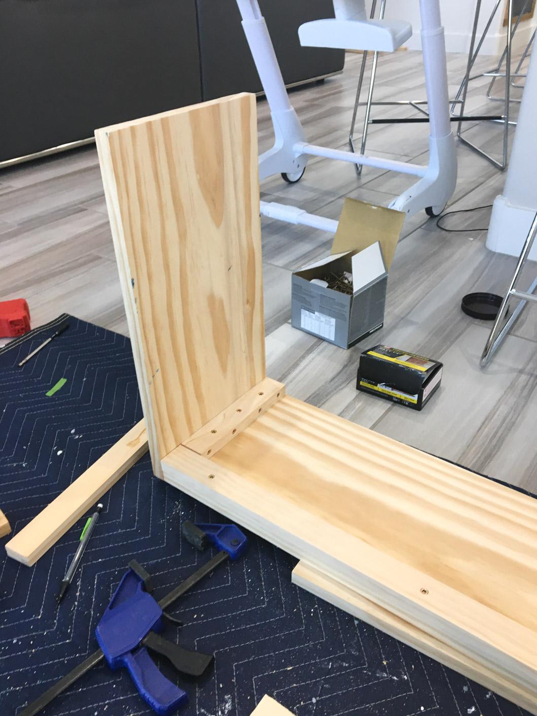 Right bench leg of DIY bench