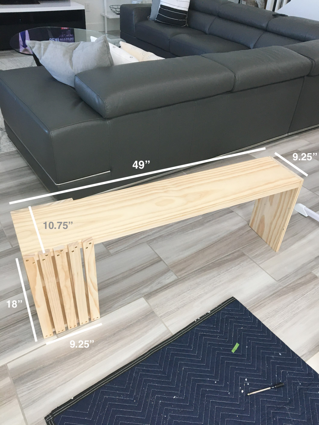 Measurements for DIY bench