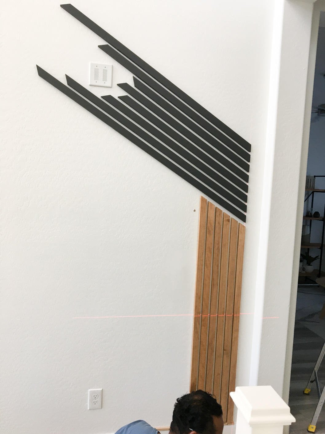 black diagonal slats and brown vertical slats