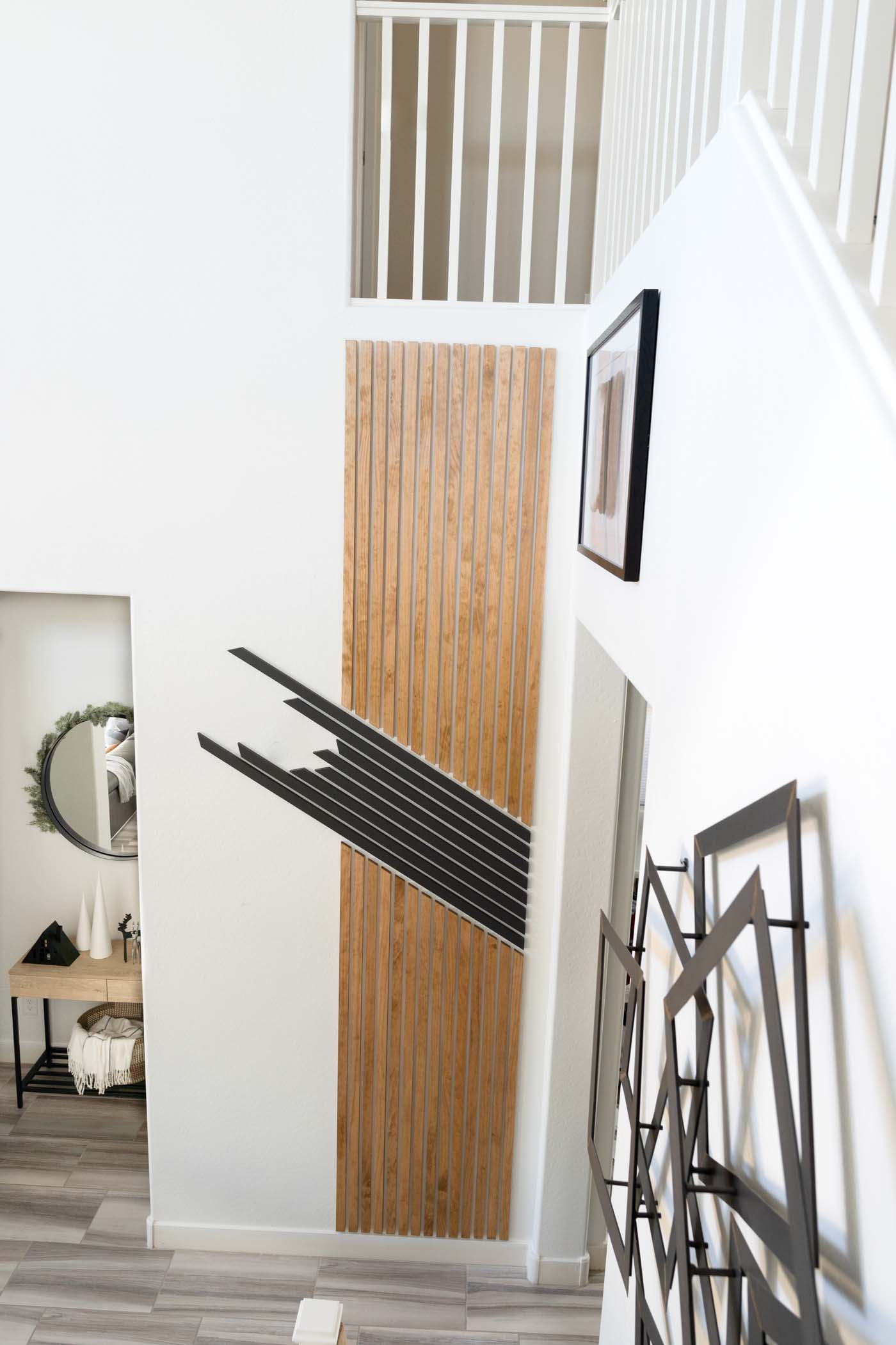 wood slat accent wall