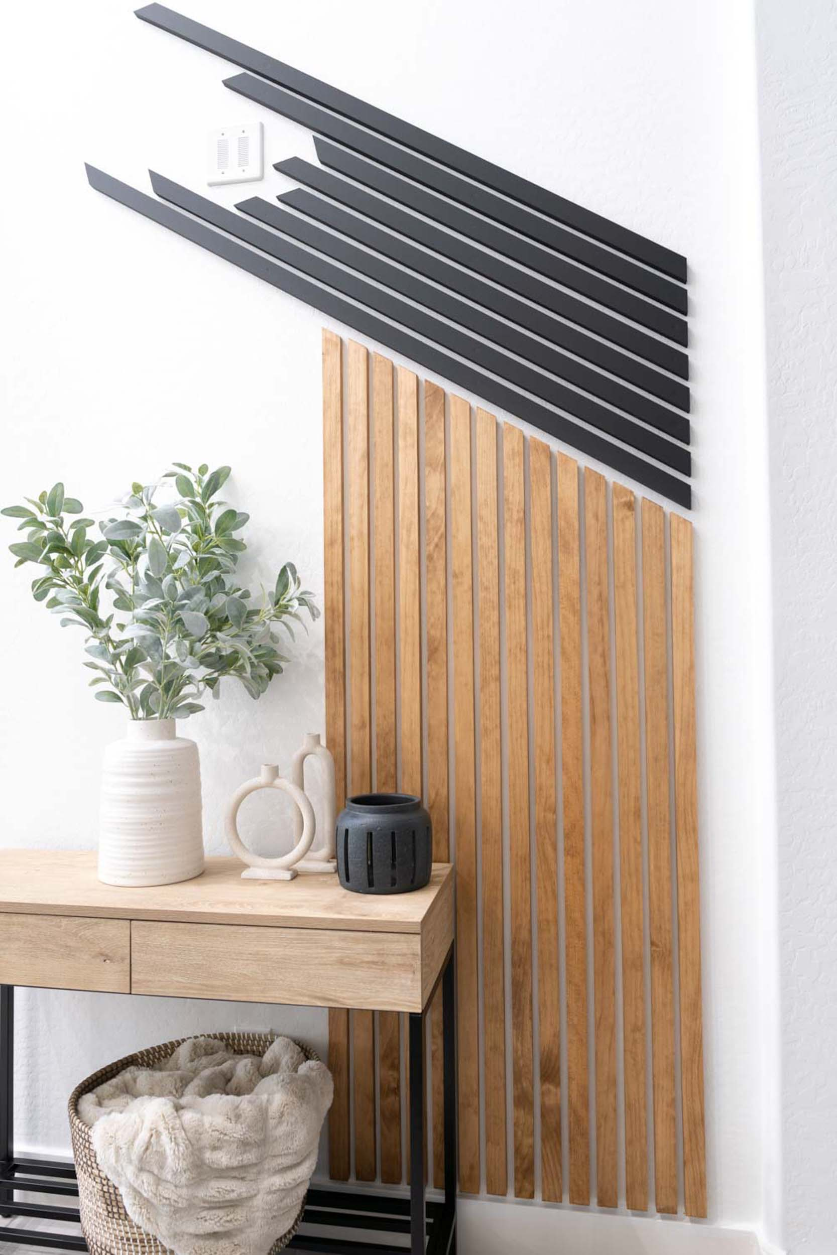Vertical wood slats and diagonal wood slats.